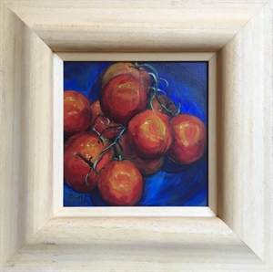 Tomatoes on Blue Pottery