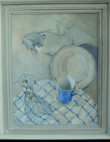 Blue Mug and Plate by Jill Langford