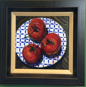 Tomatoes on Blue Plate (1 of a Pair)